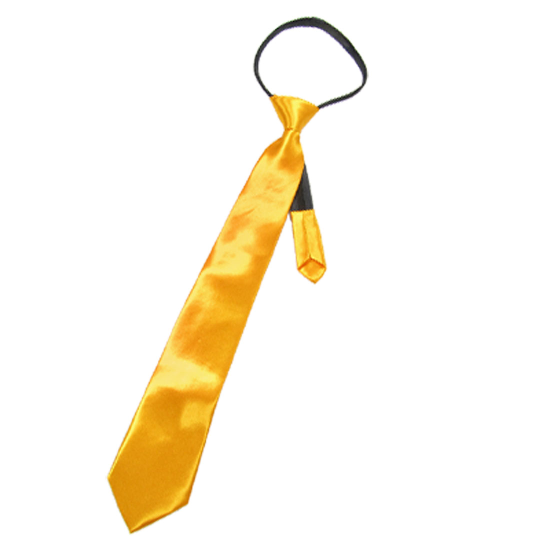 Ladies Black Zipper Up Yellow Satin Polyester Necktie Tie