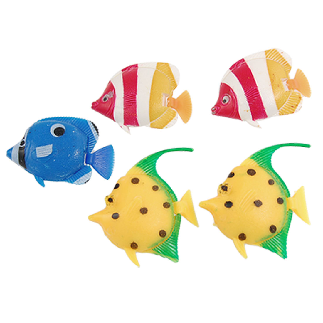 5 Pcs Wiggly Tail Colorful Plastic Floating Tropical Fish for Aquarium