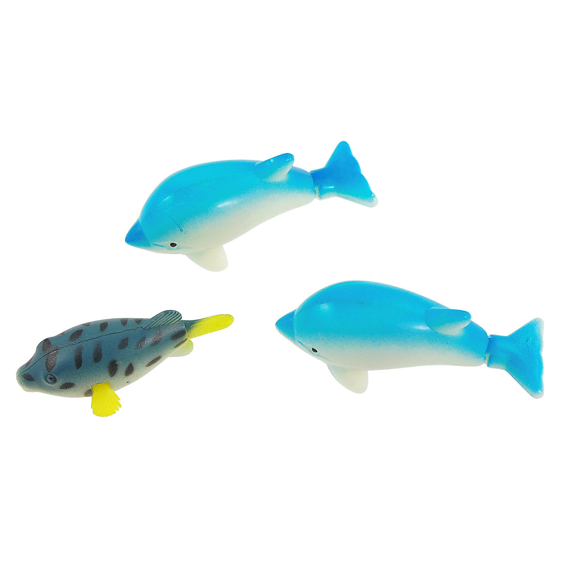 Wiggly Tail Blue White Plastic Floating Dolphins 3 Pcs for Aquarium