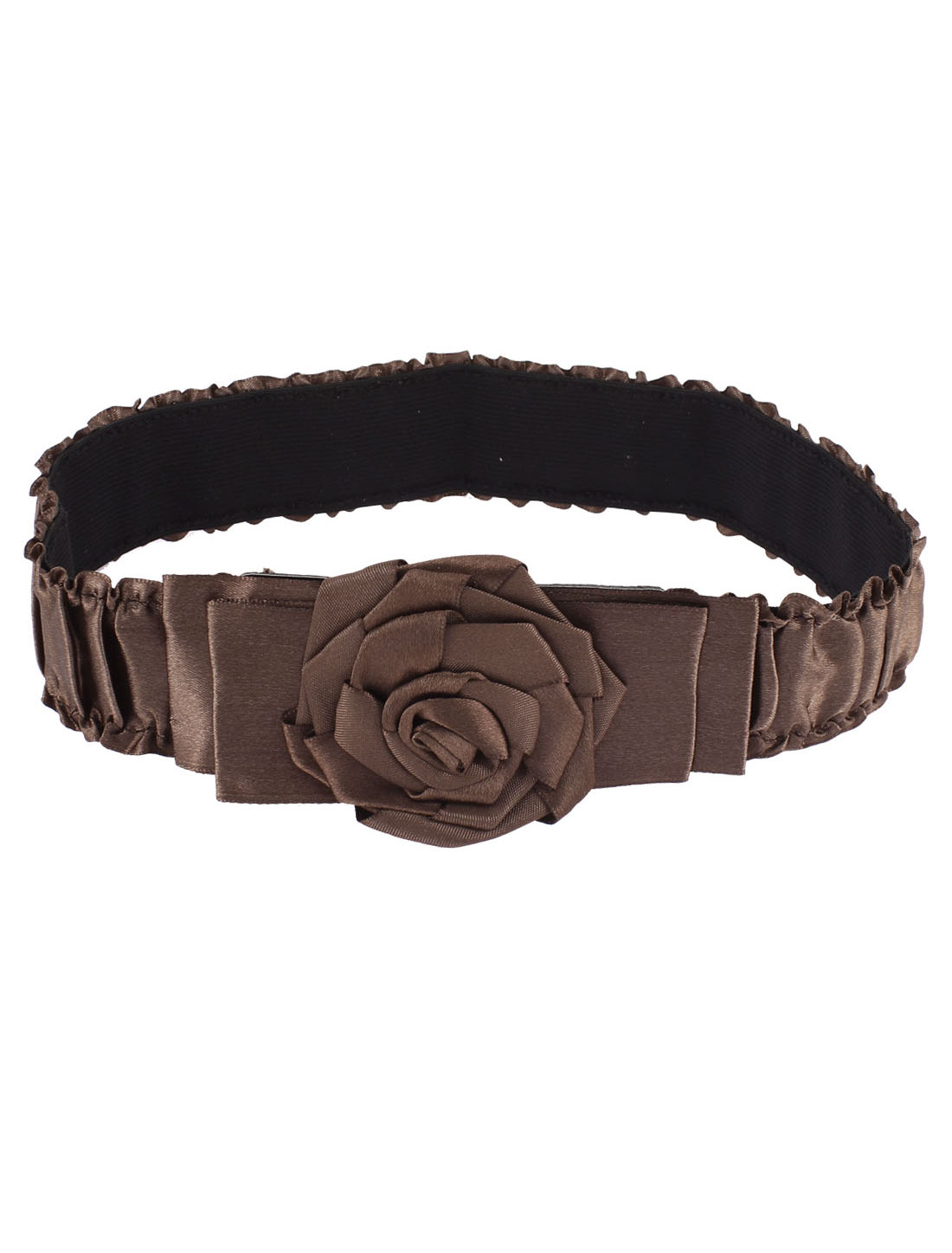 Lady Coffee Shirred Stretchy Rose Hook Buckle Waist Belt