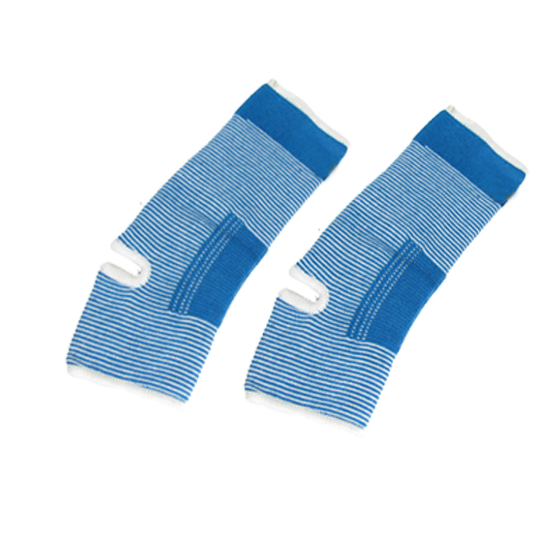 2 Pcs White Blue Striped Stretchy Ankle Support Guard