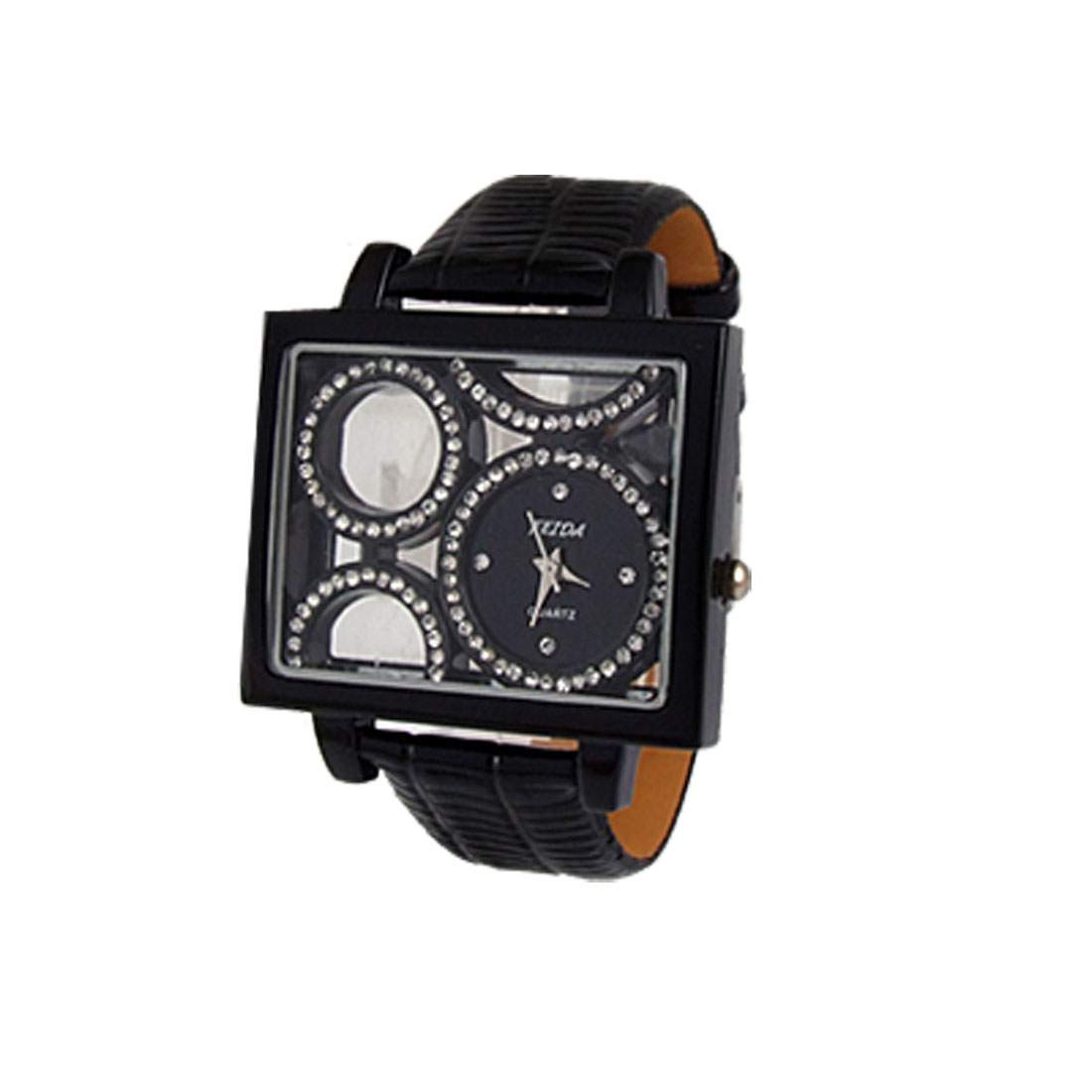 Lady Rhinestone Decor Numberless Round Dial Black Faux Leather Band Watch