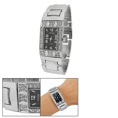Ladies Stainless Steel Band Rhinestone Detail Black Dial Wristwatch