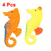 Wiggly Dorsal Fin Yellow Orange Plastic Floating Seahorse 4 Pcs for Aquarium