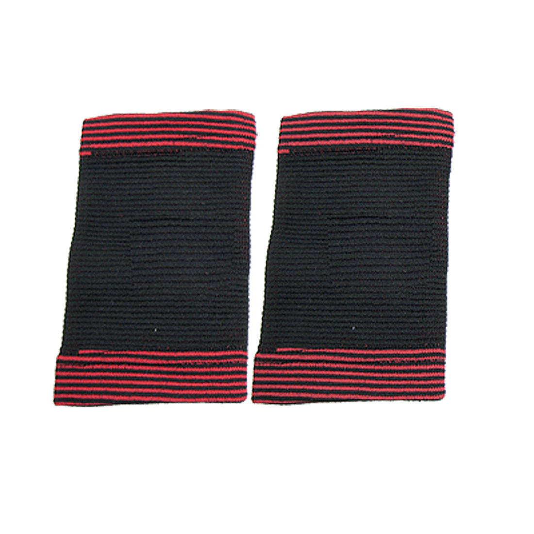2 Pcs Size L Black Red Stripe Stretchy Band Wrist Support Protector