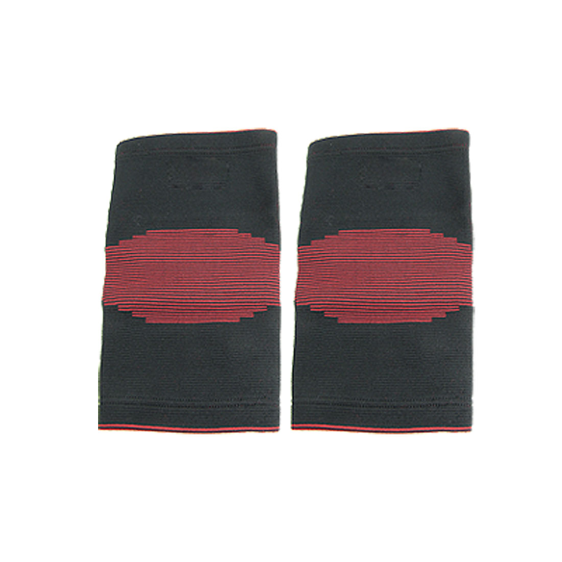 Black Red Bar Striped Elastic Knee Sleeve Support Protector