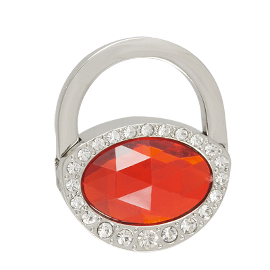 Red Faceted Plastic Crystal Glittery Padlock Shape Foldable Handbag Hook