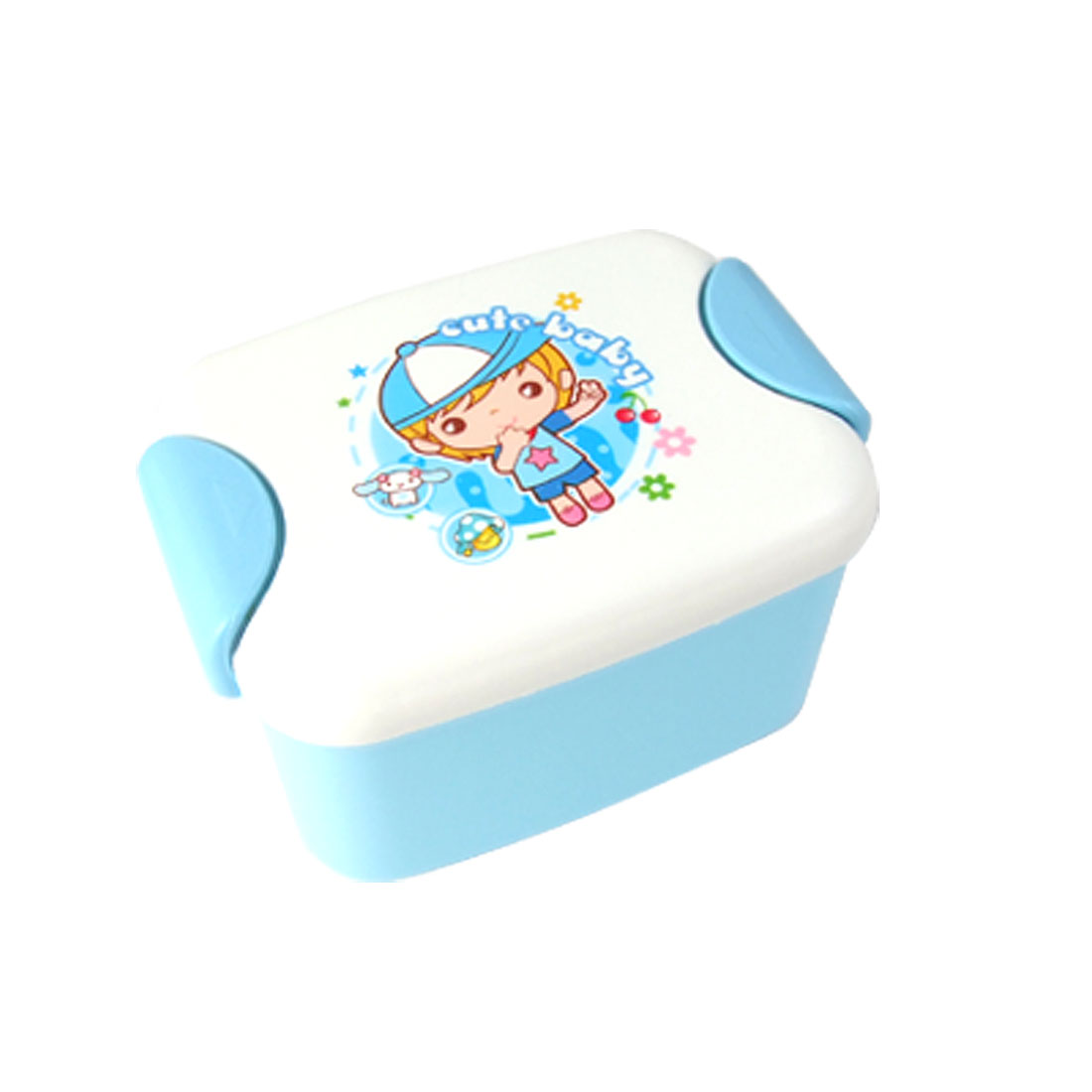 Cute Baby Pattern Blue White Plastic Lunch Box