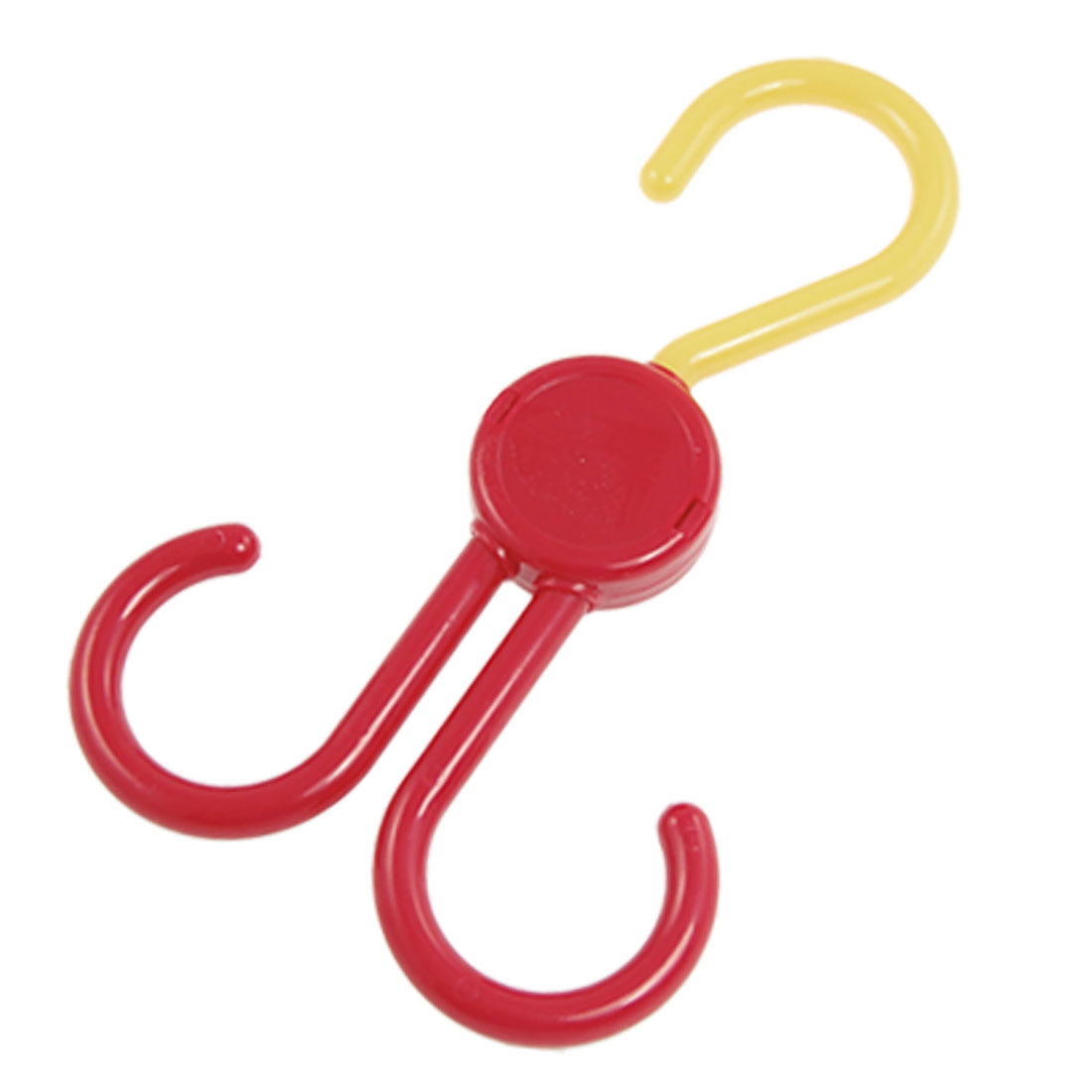 2 In 1 Plastic Foldable Hook Shopping Bag Hanger Yellow Red