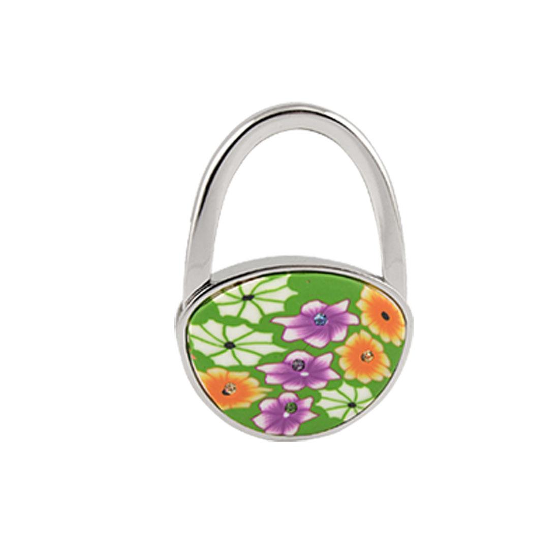 Multicolor Rhinestone Flower Accent Padlock Handbag Hook w Rubber Base