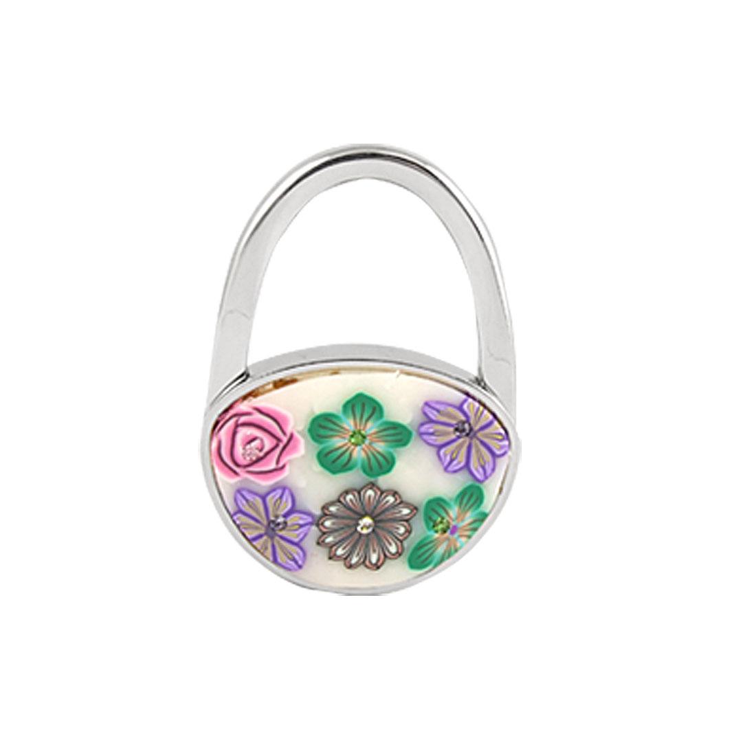 Rhinestone Flower Detail Padlock Shaped Foldable Table Hook for Handbag Purse