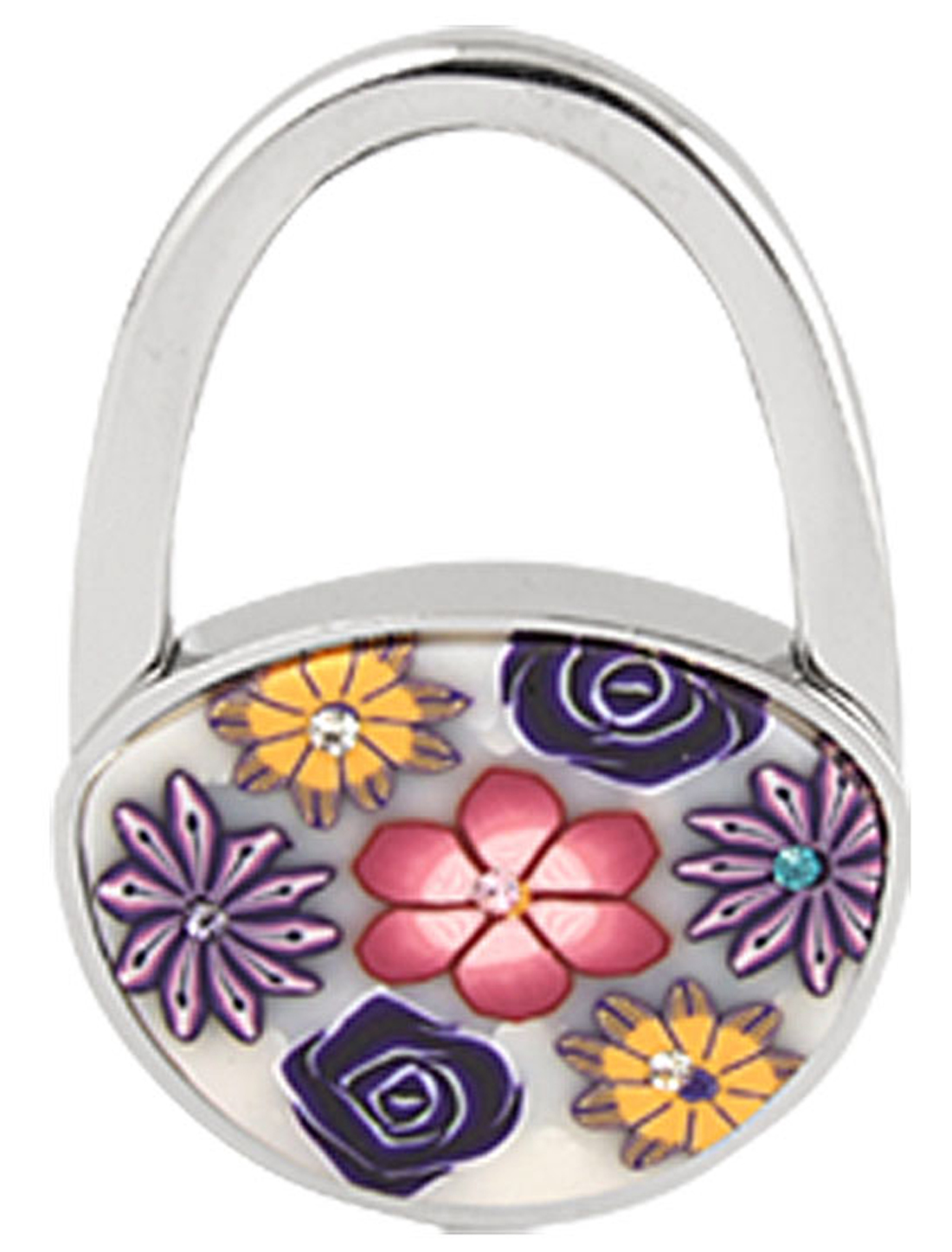 Handbag Purse Rhinestone Flower Accent Padlock Folding Table Hanger