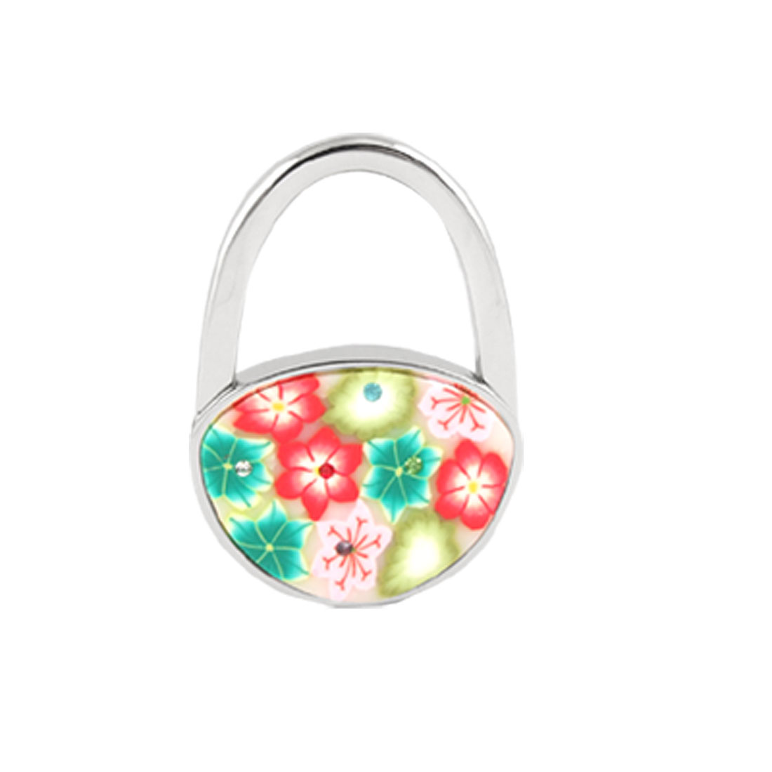 Foldable Multicolor Flowers Detail Padlock Handbag Purse Table Hook