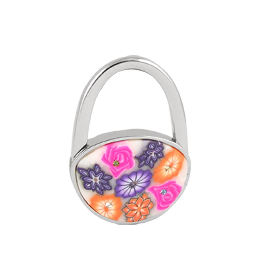 Multicolor Rhinestone Flower Accent Padlock Shaped Handbag Folding Hook