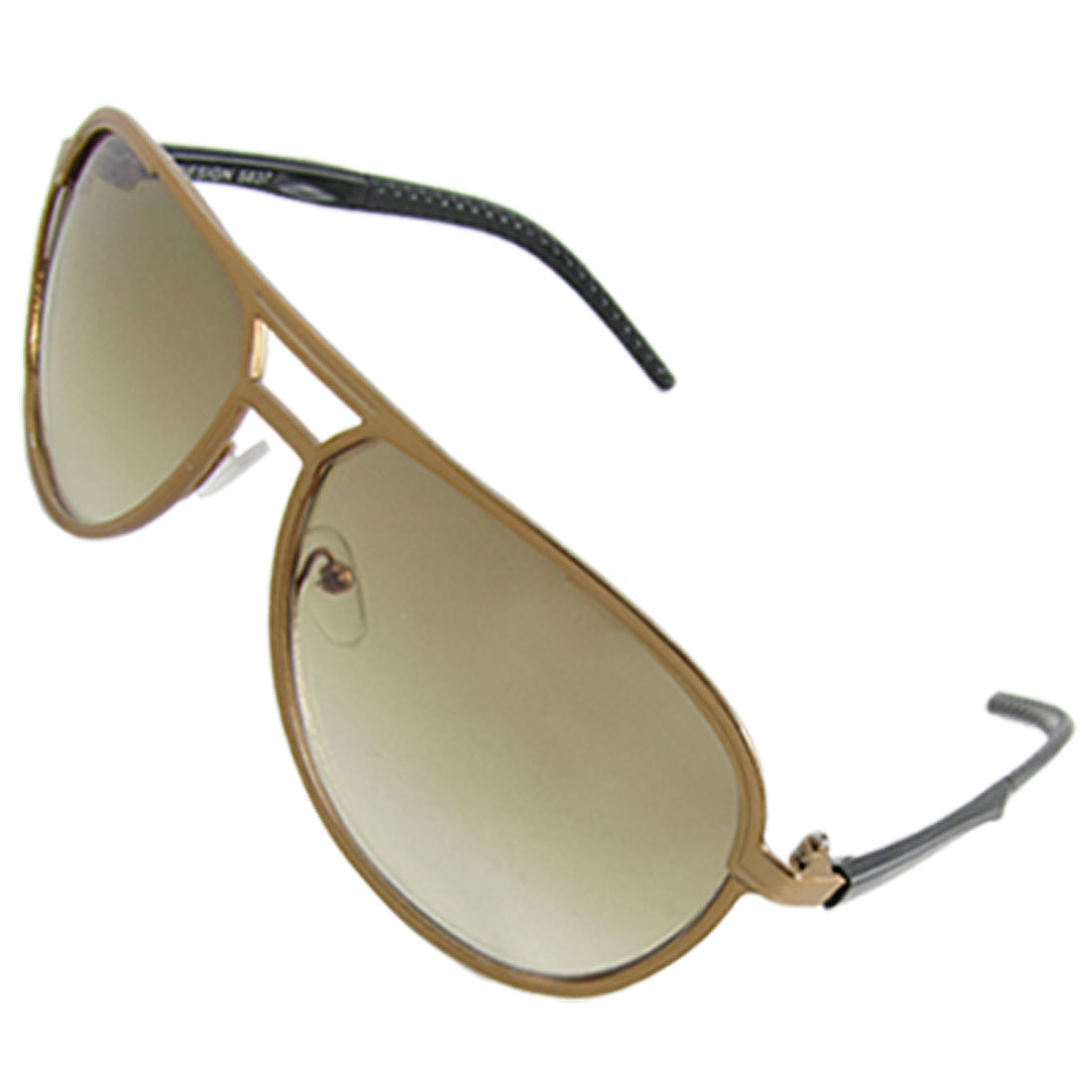 Men Gold Tone Metal Frame Black Plastic Arms Sunglasses
