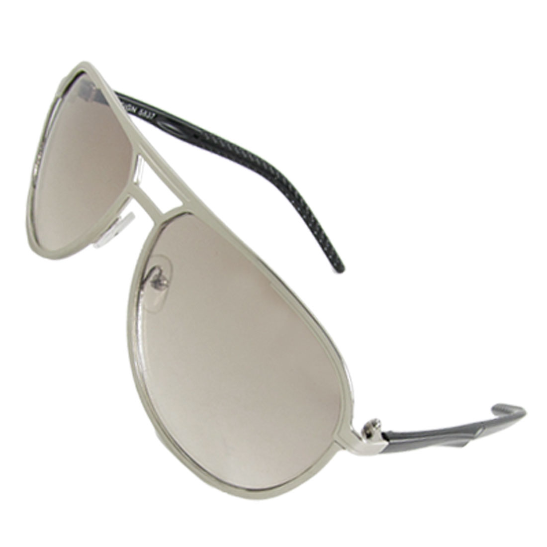 Men Double Bridge Silver Tone Full Frame Sunglasses