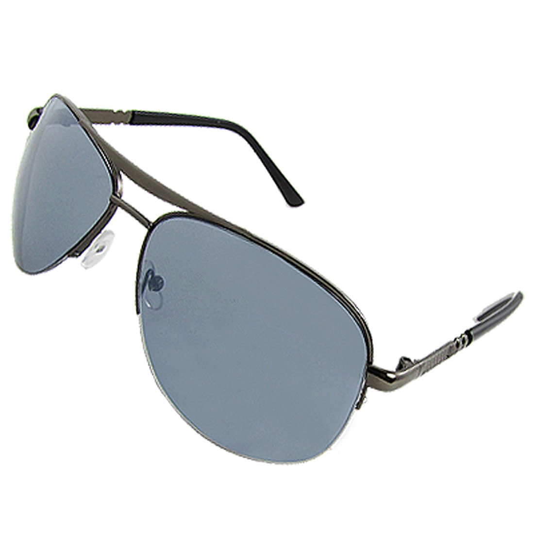 Men Gray Lens Metal Semi Rim Double Bridge Sunglasses