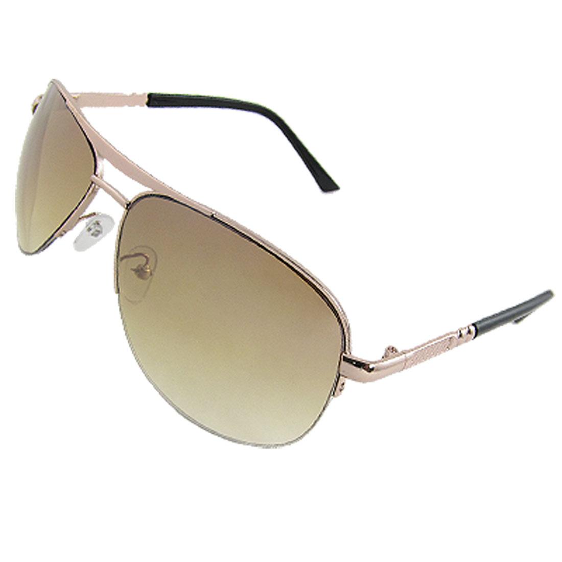 Men Textured Metal Temple Black Plastic Arms Sunglasses