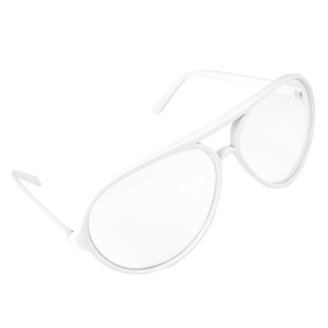 White Full Frame Double Bridge Plain Glass Spectacles for Ladies