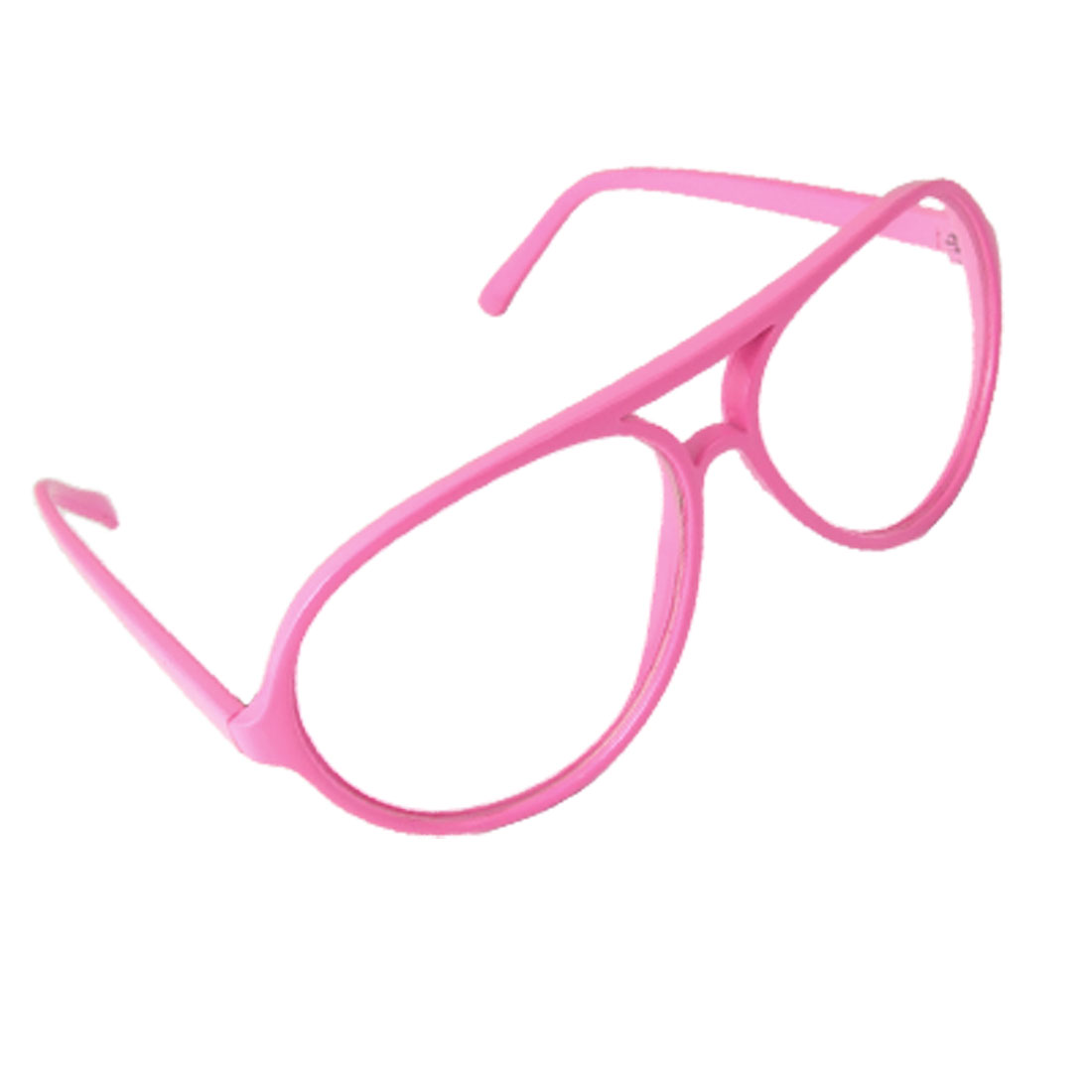 Pink Plastic Arms Full Frame Double Bridge Plano Glasses for Ladies
