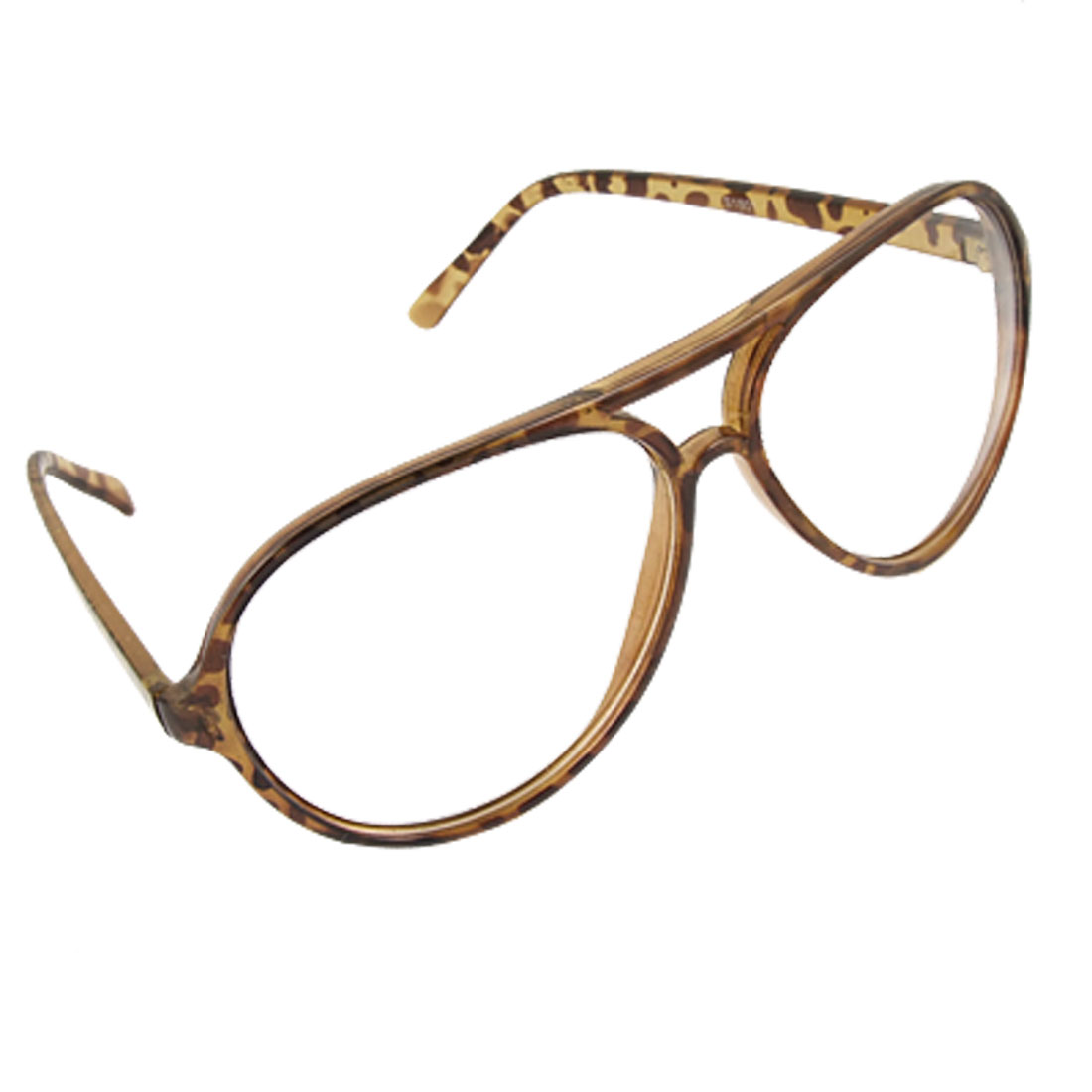 Leopard Print Oval Frame Double Bridge Clear Lens Glasses for Ladies