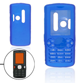 Blue Rubberized Plastic Case Shell for Sony Ericsson W810