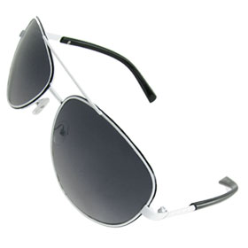 Men White Metal Frame Black Plastic Arms Aviator Sunglasses