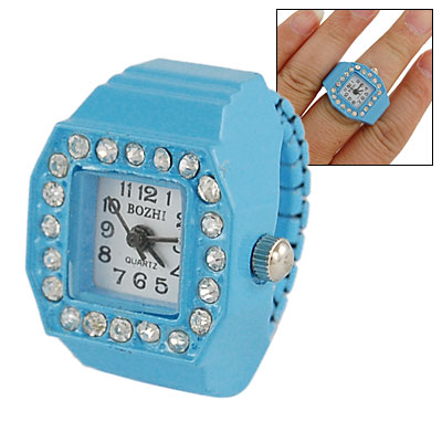 Ladies Arabic Numeral Dial Rhinestone Finger Ring Watch Blue