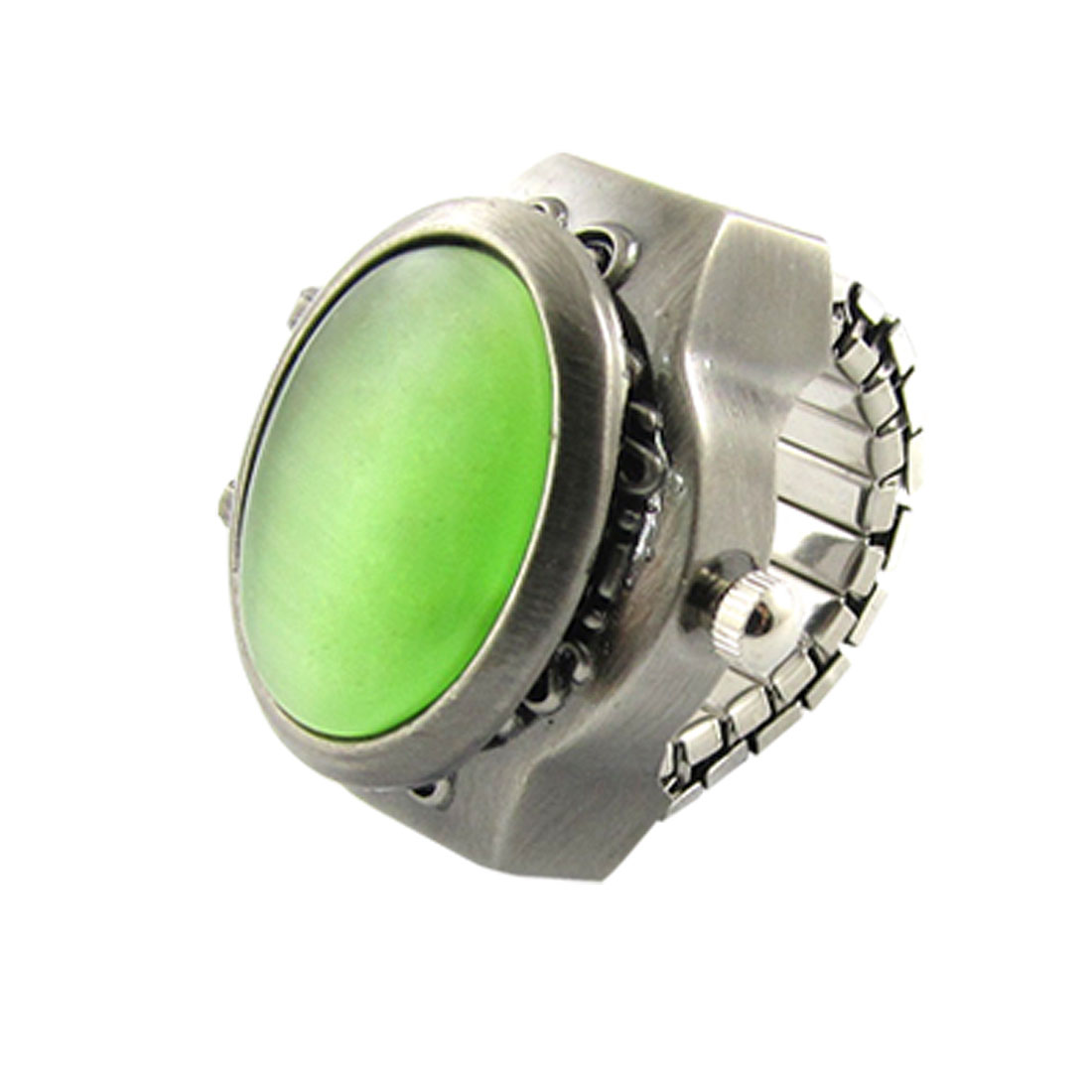 Oval Green Plastic Crystal Decor Hunter Case Finger Ring Watch for Lady