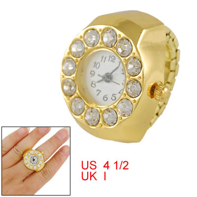 Ladies Stretch Band Rhinestone Finger Ring Watch Gold Tone