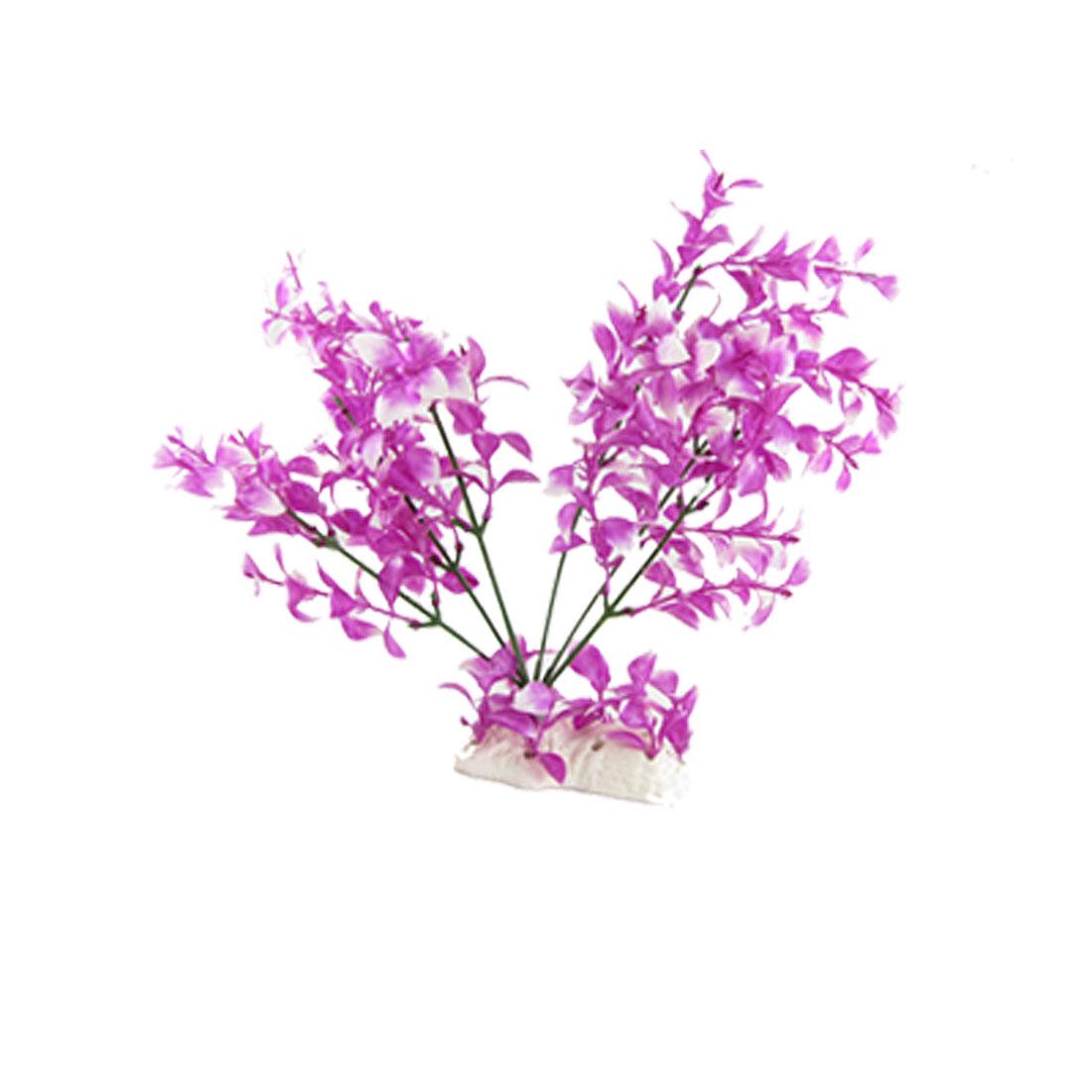 Purple White Tie dye Plastic Aquatic Plant Aquarium Decor
