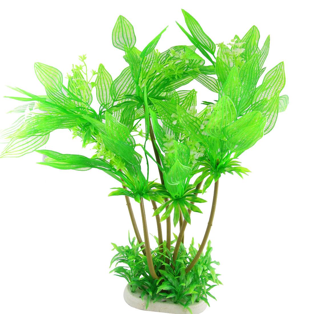 Tank Aquascape White Floral Green Plastic Plants Ornament
