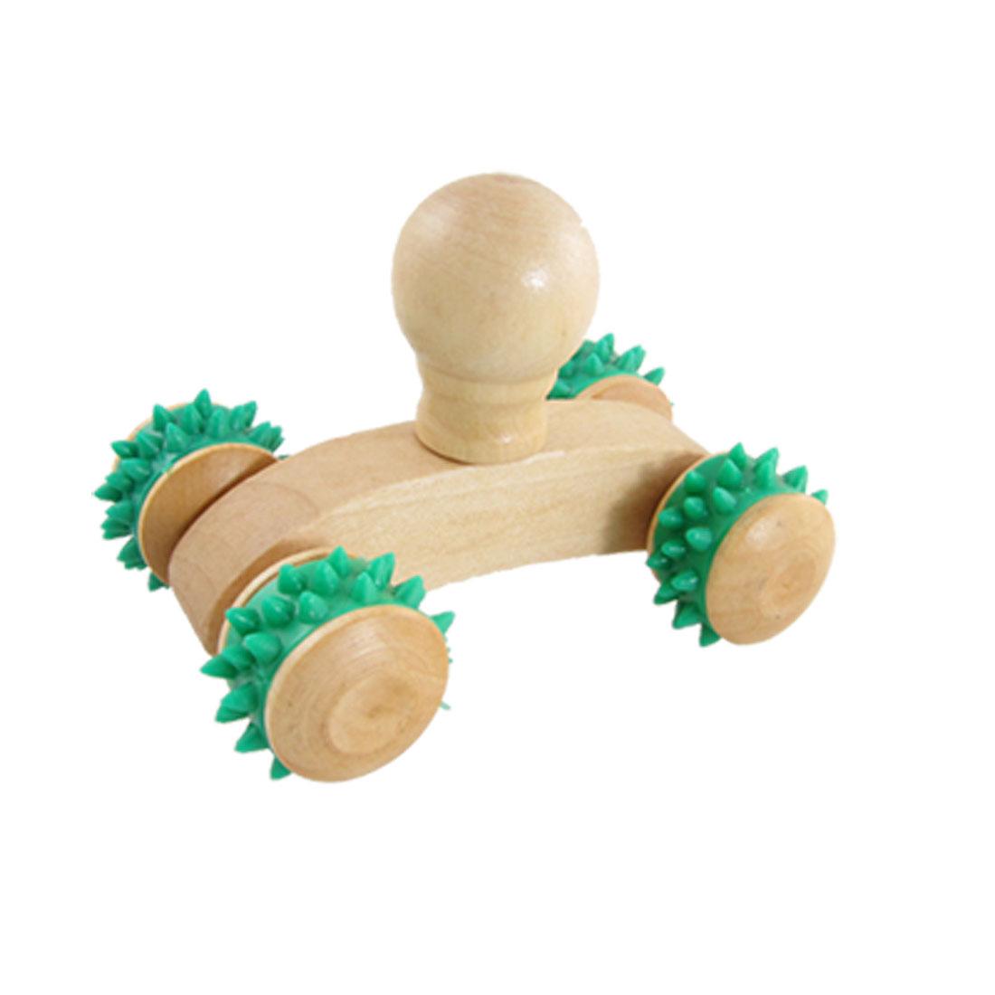 Wooden 4 Rubber Wheels Massage Roller Body Hands Arms Legs Massager
