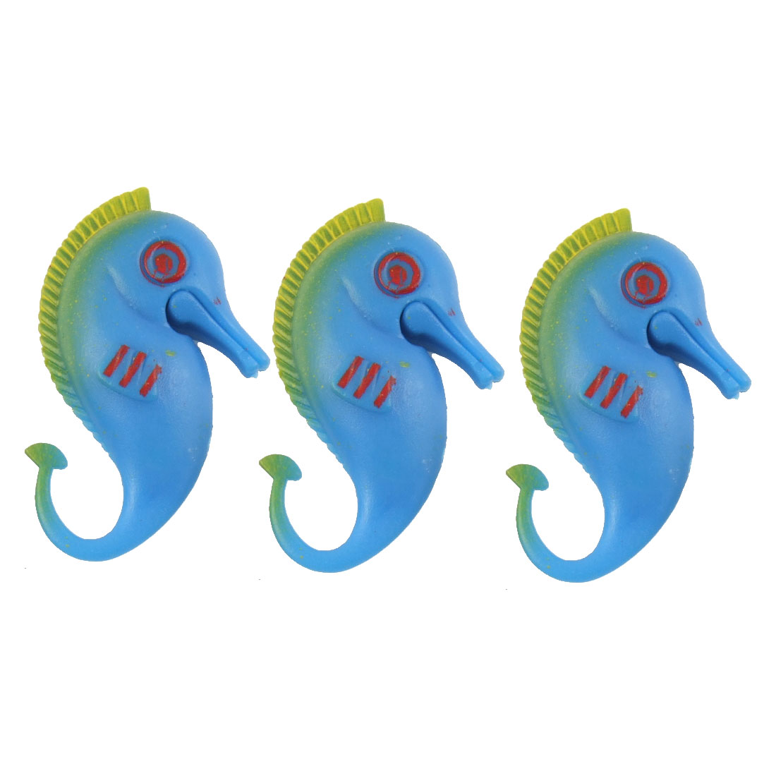 3 Pcs Blue Green Plastic Floating Hippocampi Ornament for Aquarium Fish Tank