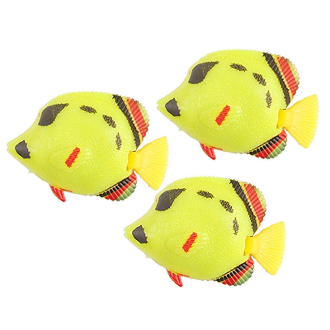 Yellow Red Black Plastic Tropical Fish Decoration for Aquarium 3 Pcs