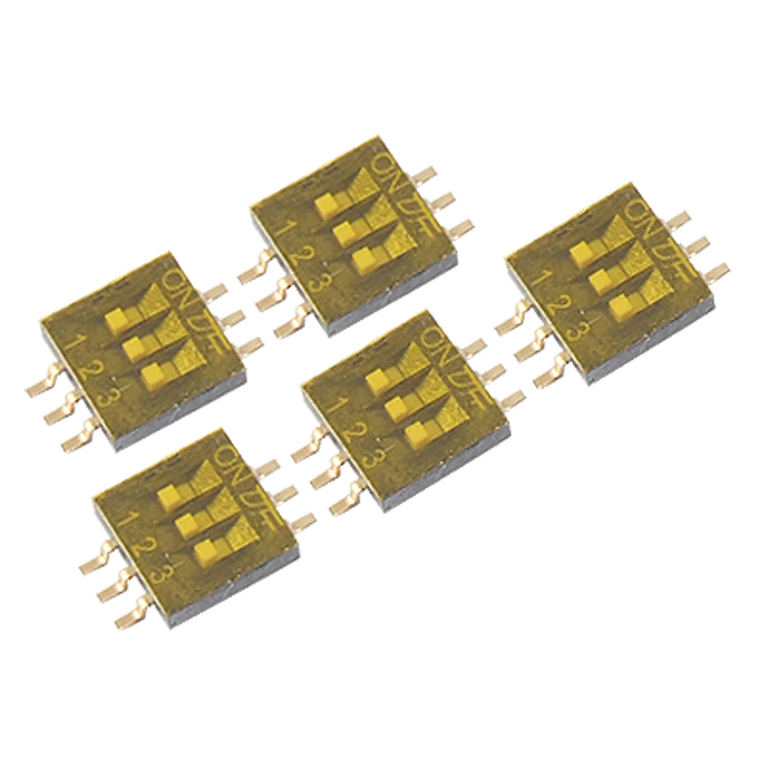 5 Pcs Dual Row 3 Position 1.27mm Half Pitch SMT Type DIP Switch