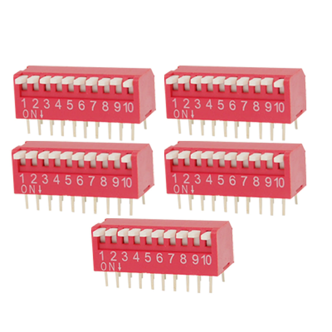 5 Pcs 10 Ways 20 Pin 2.54mm Pitch Side Piano Type Red DIP Switch