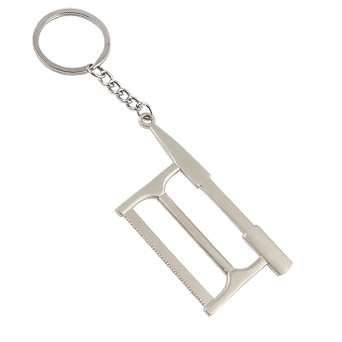 Silver Tone Alloy Mini Saw Shape Pendant Keyring Key Chain