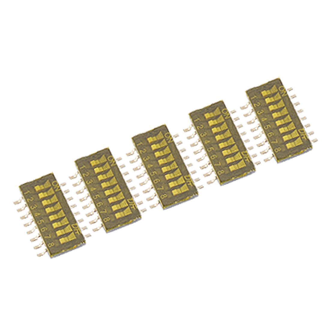 8 Position Dual Row 1.27mm Half Pitch SMT Type DIP Switch 5 Pcs