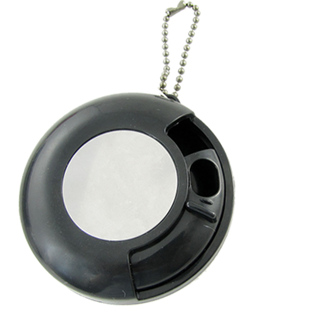 Portable Black Plastic Round Smoking Ashtray w Chain