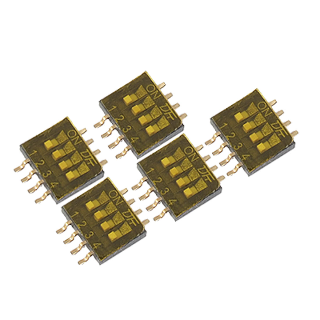 5 Pcs 4 Position 1.27mm Pin Spacing SMT SMD Type DIP Switch