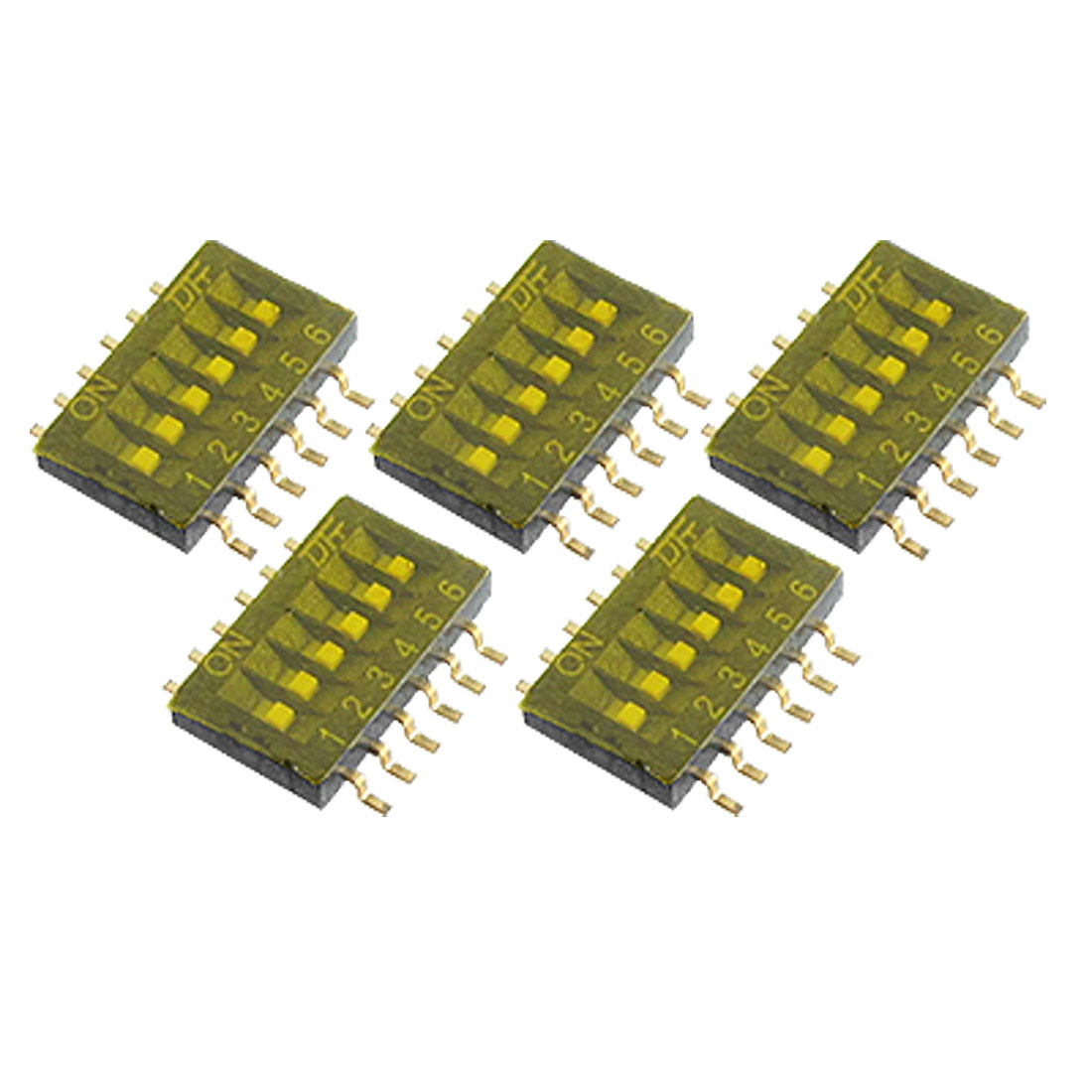 5 Pcs 6 Position Dual Row 1.27mm Half Pitch SMT Type DIP Switch