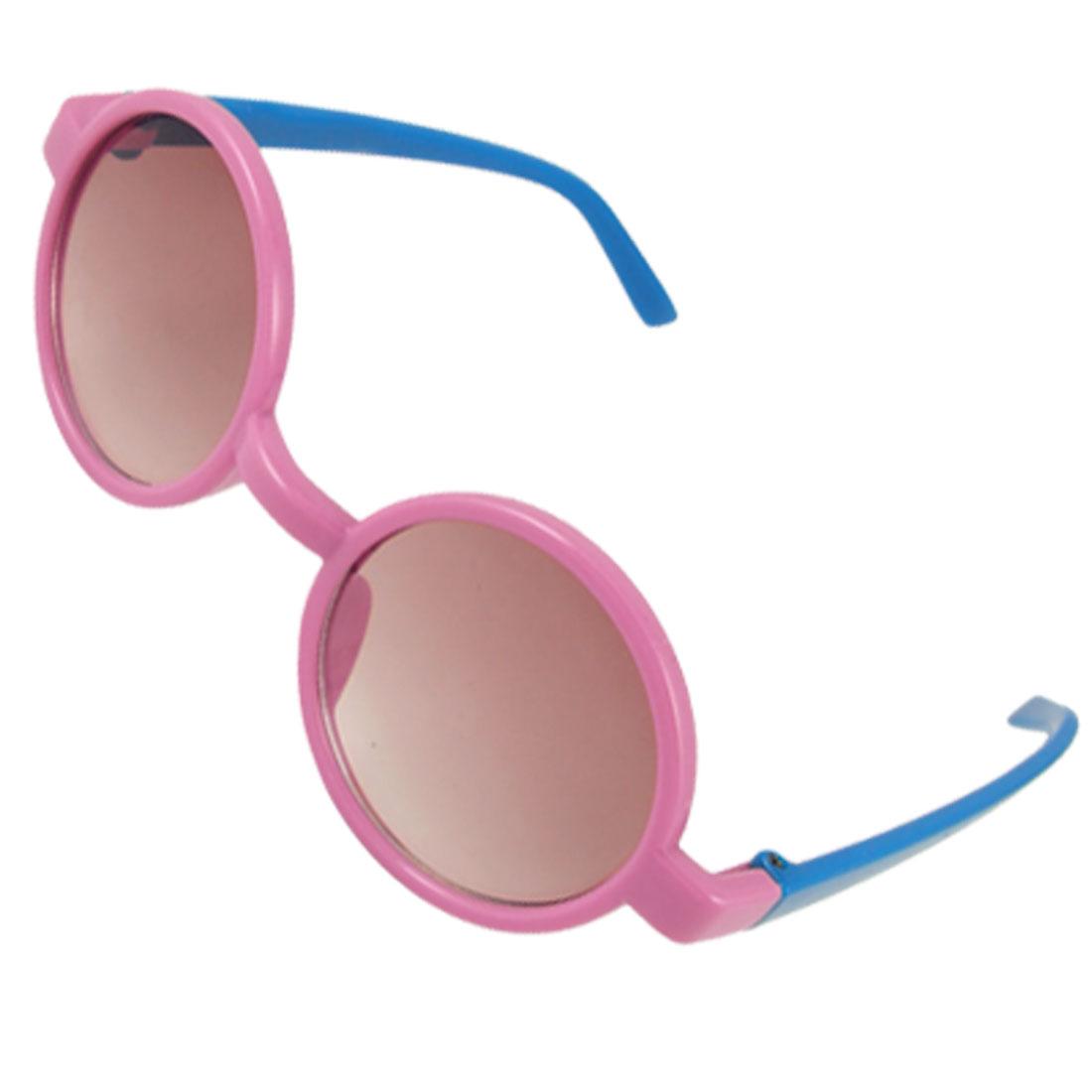 Pink Rim Blue Arms Round Lens Plastic Sunglasses for
