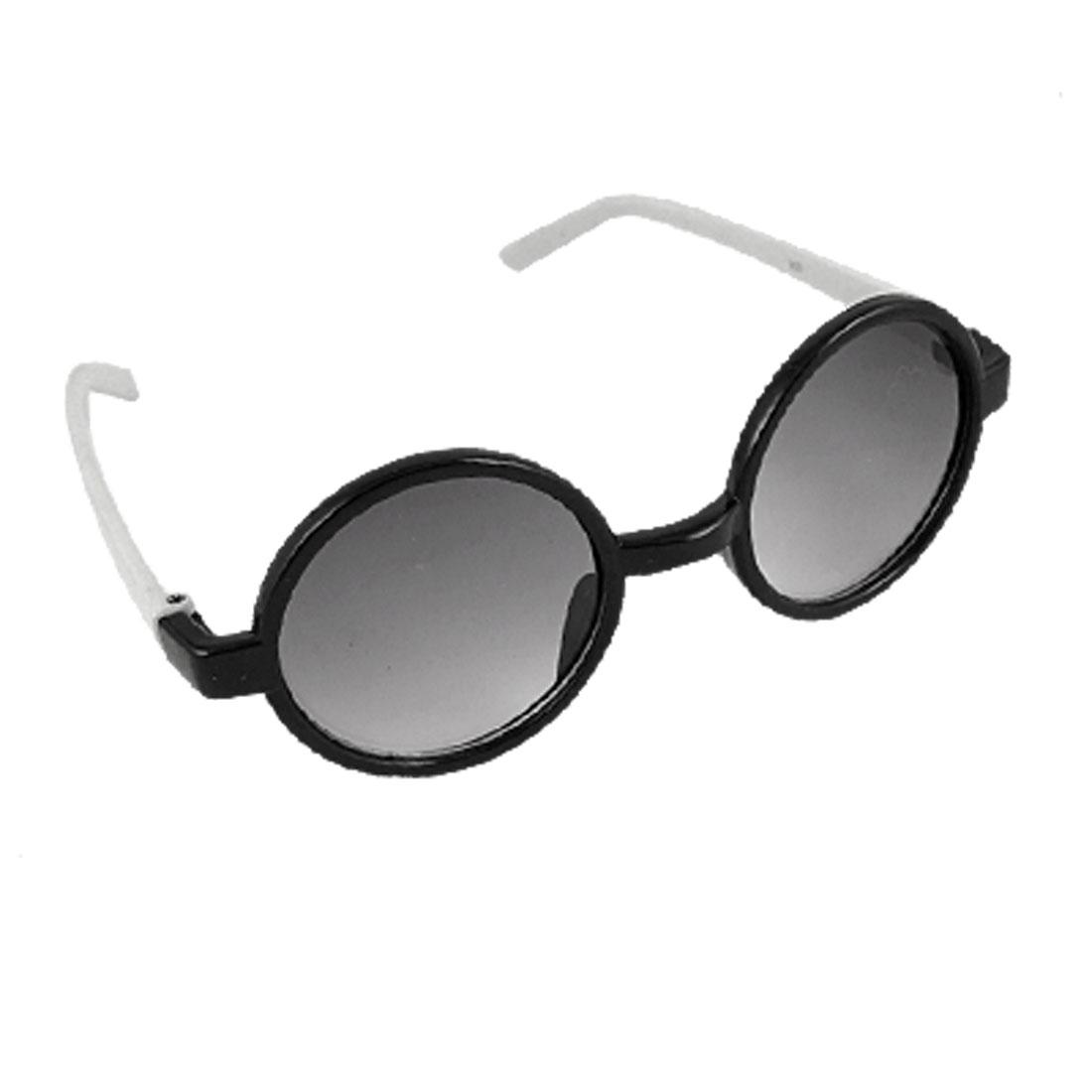 Round Dark Lens Black Rim White Arms Plastic Sunglasses for Children
