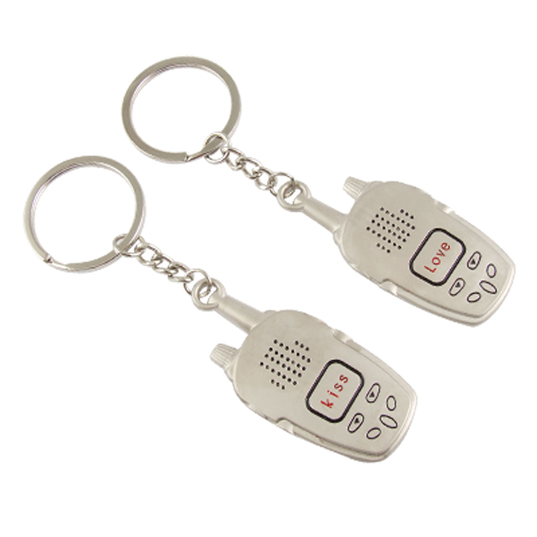 Mobile Phone Shape Pandent Silver Tone Keychains 2 Pcs