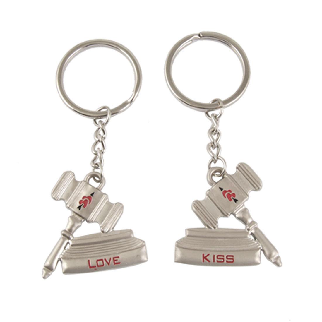 2 Pcs Judger Hammer Shape Pandent Split Keychains Keyrings