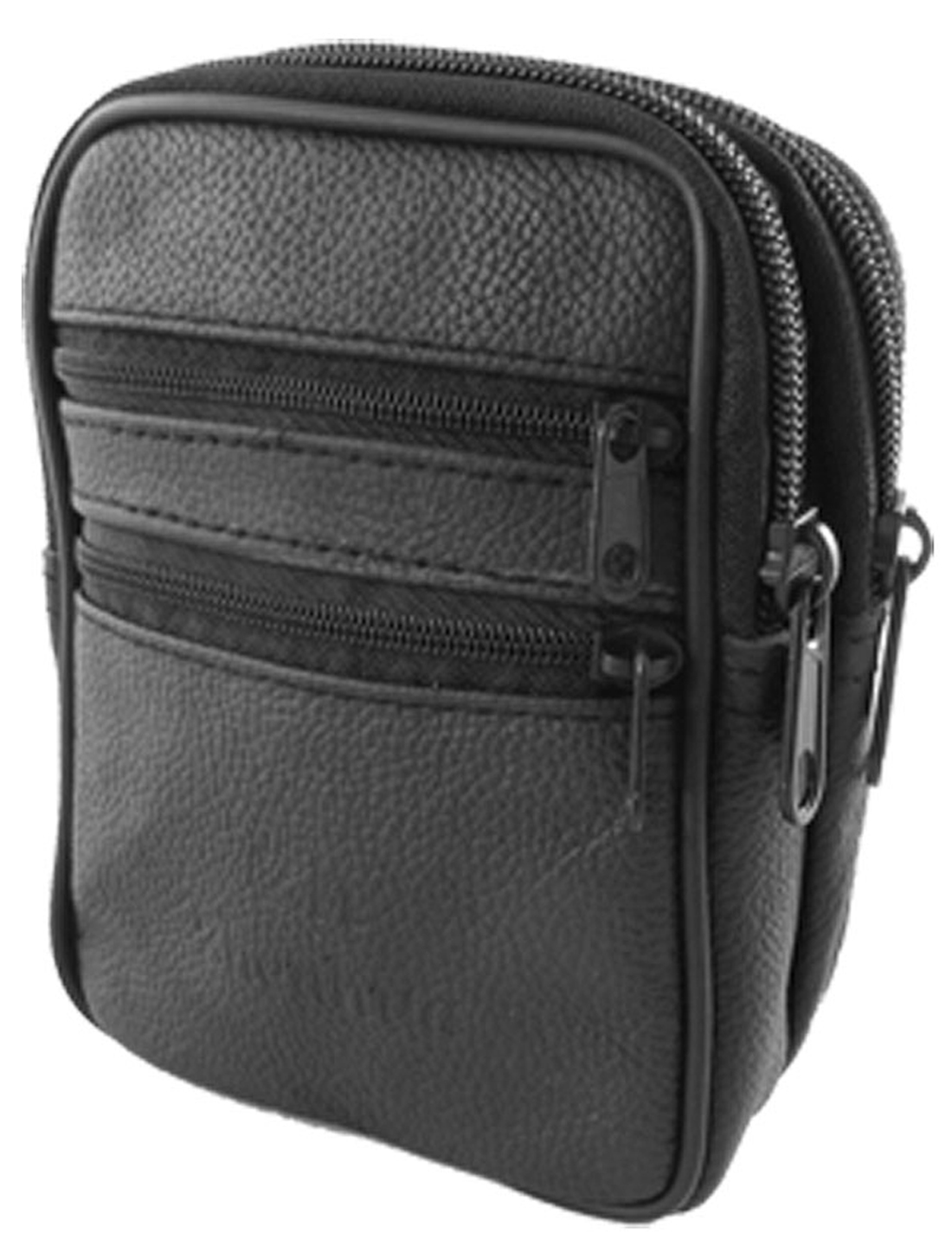 Black Fauxl Leather 4 Zippered Pocket Belt Loop Waist Bag