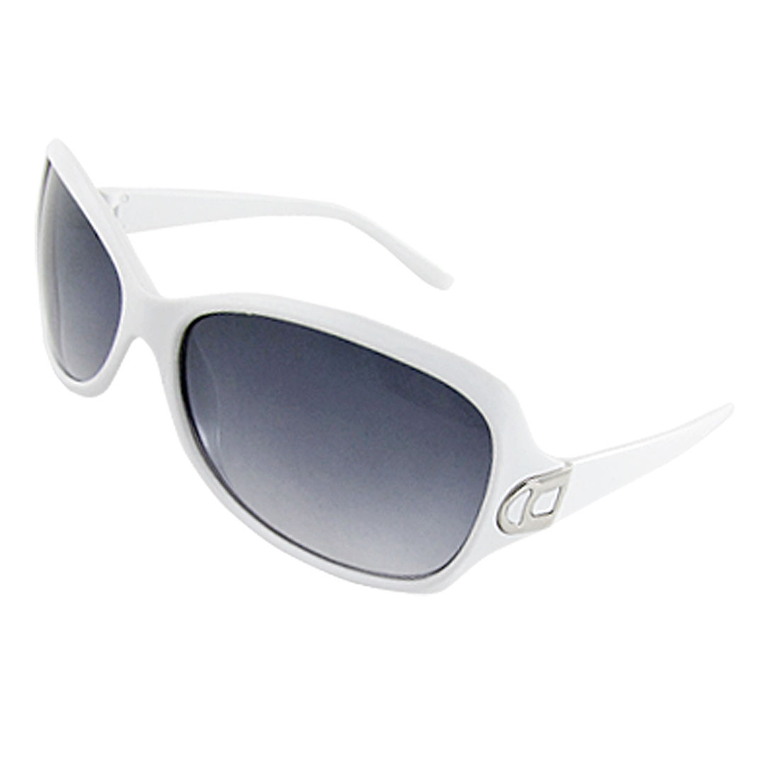 Woman White Plastic Frame Dark Lens Outdoor Sunglasses