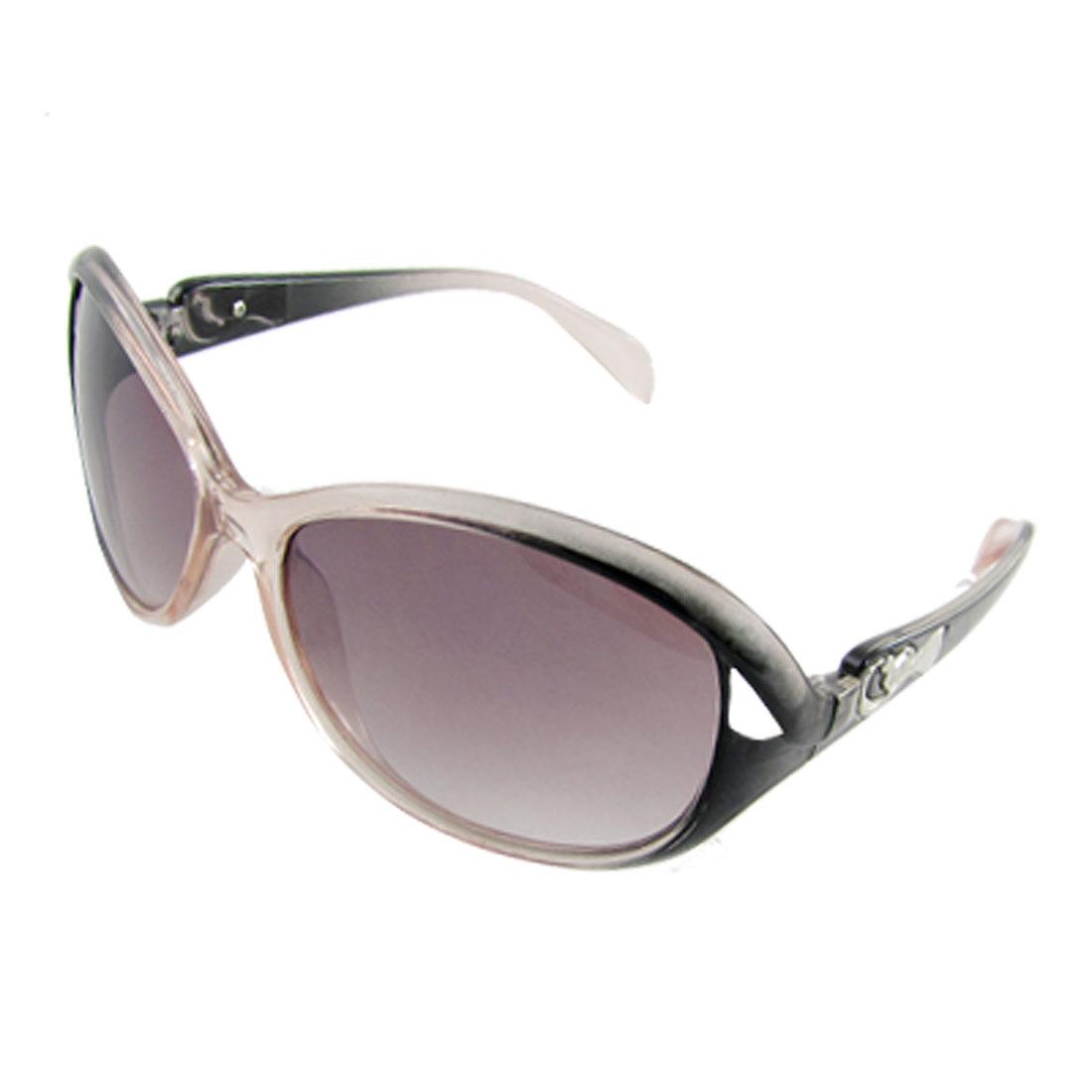 Lady Plastic Frame Metallic Motif Detail Temple Sunglasses