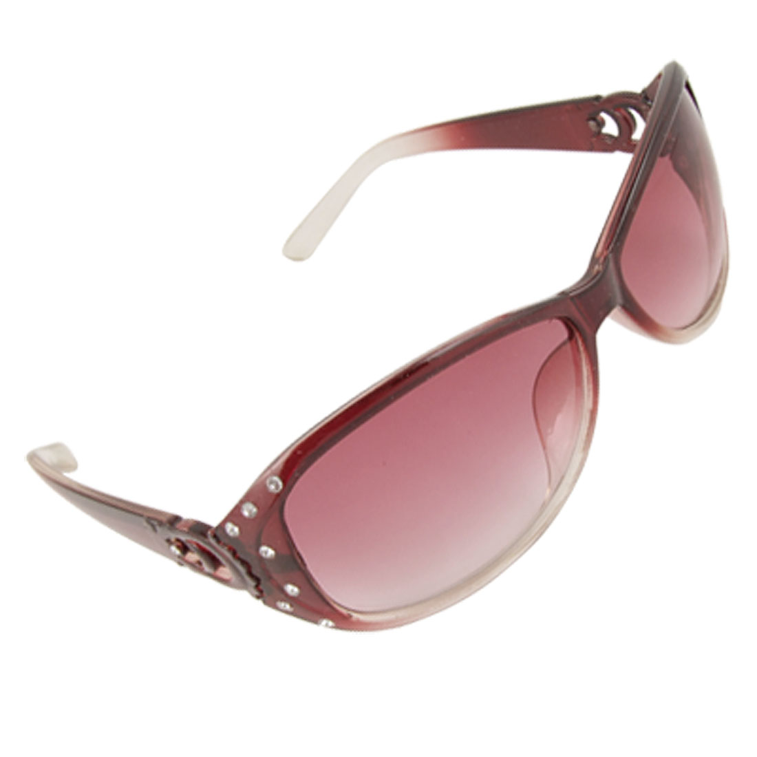 Lady Clear Red Plastic Full Frame Rhinestone Decor Temples Sunglasses